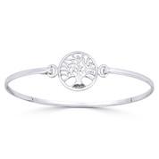 Tree-of-Life 16mm Charm Bangle Bracelet in Solid .925 Sterling Silver - ST-BG002-SLP