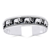 Elephant Charm Open Cuff Adjustable Bangle in Solid .925 Sterling Silver - ST-BG005-SLP