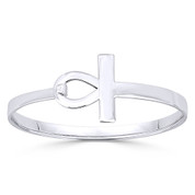 "Egyptian Ankh ""Key-of-Life"" Charm Bangle Bracelet in Solid .925 Sterling Silver - ST-BG009-SLP"