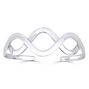 Overlapping Wave Adjustable Open Cuff Bangle Solid .925 Sterling Silver Bracelet - ST-BG012-SLP