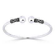 8mm Polished Double Ball End Open Cuff Bangle in .925 Sterling Silver - ST-BG014-SLP