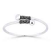 8mm Polished Double Ball End Bypass Cuff Bangle in .925 Sterling Silver - ST-BG015-SLP