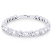 0.18ct Round Cut Diamond Milgrain Bezel Stackable Anniversary Ring / Wedding Band in 18k White Gold - AM-DR13392
