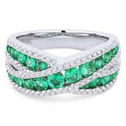 1.45ct Emerald & Diamond Pave Right-Hand Overlap-Design Fashion Ring in 18k White Gold - AM-DR13230