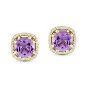 2.23ct Cushion Cut Amethyst & Diamond 8-Prong Square-Halo Stud Earrings in 14k Yellow Gold -  AM-DE11512Y