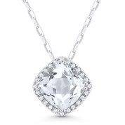 1.77ct Cushion Cut White Topaz & Round Diamond Halo Pendant & Chain Necklace in 14k White Gold - AM-DN3419WTW