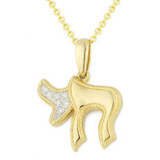 "Hebrew ""Chai"" Pendant w/ Diamonds in 14k Yellow Gold - AM-DP5645"