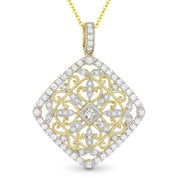 0.79ct Round Cut Diamond Vintage-Style Pendant & Chain Necklace in 14k Yellow & White Gold - AM-DN4768