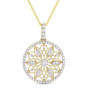 0.48 ct Round Cut Diamond Vintage-Style Pendant & Chain Necklace in 14k Yellow & White Gold - AM-DN4769