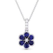 0.73 ct Pear-Shape Sapphire & Round Diamond Flower Pendant in 18k White Gold w/ 14k Chain - AM-DN4713