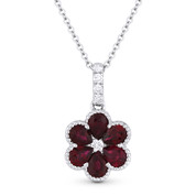 1.17 ct Pear-Shape Ruby & Round Cut Diamond Flower Pendant in 18k White Gold w/ 14k Chain - AM-DN4720