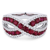 1.97ct Round Brilliant Cut Ruby & Diamond Pave Right-Hand Ring in 18k White Gold - AM-DR13407
