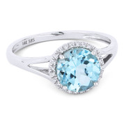 1.70ct Round Brilliant Cut Blue Topaz & Round Diamond Halo Promise Ring in 14k White Gold - AM-DR13460