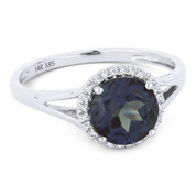 1.24ct Round Brilliant Cut Lab-Created Alexandrite & Diamond Halo Promise Ring in 14k White Gold - AM-DR13601