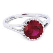 1.61ct Round Brilliant Cut Lab-Created Ruby & Diamond Halo Promise Ring in 14k White Gold - AM-DR13605