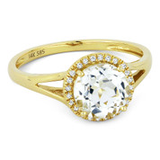 1.69ct Round Brilliant Cut White Topaz & Round Diamond Halo Promise Ring in 14k Yellow Gold - AM-DR13606