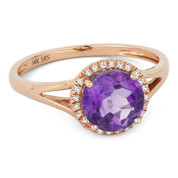 1.14ct Round Brilliant Cut Amethyst & Round Diamond Halo Promise Ring in 14k Rose Gold - AM-DR13726