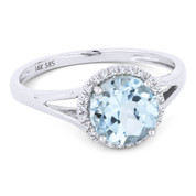 1.67ct Round Brilliant Cut Aqua-Blue Topaz & Round Diamond Halo Promise Ring in 14k White Gold - AM-DR13728