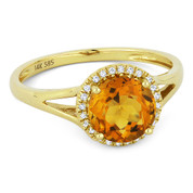 1.35ct Round Brilliant Cut Citrine & Round Diamond Halo Promise Ring in 14k Yellow Gold - AM-DR13841