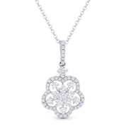 0.68ct Round Cut Diamond Flower Pendant in 18k White Gold & 14k Rolo Chain Necklace - AM-DN4077