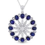 3.85ct Oval Cut Sapphire & Diamond Antique-Style Pendant in 18k White Gold w/ 14k Chain - AM-DN4951