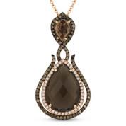 5.36ct Smoky Topaz, White Diamond, & Brown Diamond Pendant & Chain in 14k Rose & Black Gold - AM-DN4766