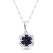 0.26ct Round Cut Sapphire & Diamond Flower Pendant in 18k White Gold w/ 14k Chain Necklace - AM-DN4785