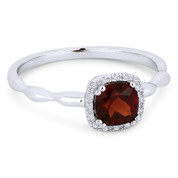 0.78ct Cushion Cut Garnet & Diamond Square-Halo Promise Ring in 14k White Gold - AM-R1030WGA
