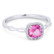 0.80ct Cushion Cut Lab-Created Pink Sapphire & Diamond Square-Halo Ring in 14k White Gold - AM-R1030WPC