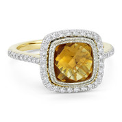 2.61ct Checkerboard Cushion Citrine & Diamond Pave Halo Ring in 14k Yellow & White Gold - AM-DR13891Y