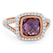 2.81ct Checkerboard Cushion Purple Amethyst & Diamond Pave Halo Ring in 14k Rose & White Gold - AM-DR13898