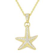 0.16ct Round Cut Diamond Starfish Animal Charm Pendant & Chain Necklace in 14k Yellow Gold