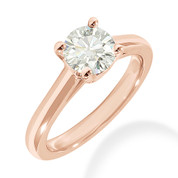 Charles & Colvard® Forever ONE® Round Brilliant Cut Moissanite 4-Prong Cathedral Solitaire Engagement Ring in 14k Rose Gold - JC-SR 176-FO-14R