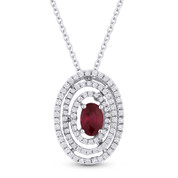 1.02 ct Oval Ruby & Round Diamond Pave Pendant in 18k White Gold w/ 14k Chain Necklace - AM-DN4821