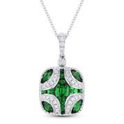 1.15 ct Emerald & Round Diamond Pave Pendant in 18k White Gold w/ 14k Chain Necklace - AM-DN4878