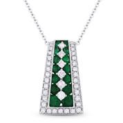 1.53 ct Emerald & Diamond Ladder Pendant in 18k White Gold w/ 14k Chain Necklace - AM-DN4818