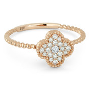 0.18ct Round Brilliant Cut Diamond Pave 4-Petal Flower Charm Ring in 14k Rose Gold - AM-R1000P