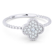 0.18ct Round Brilliant Cut Diamond Pave 4-Petal Flower Charm Ring in 14k White Gold - AM-R1000W