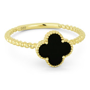 0.53ct Black Onyx Right-Hand Flower Ring in 14k Yellow Gold -  AM-R1025BOY