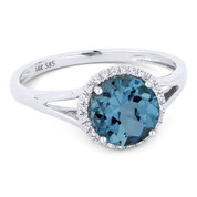 1.72ct Round Brilliant Cut London-Blue Topaz & Round Diamond Halo Promise Ring in 14k White Gold -  AM-DR13860