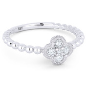 0.21ct Round Brilliant Cut Diamond Pave Flower Charm 5-Stone Ring in 14k White Gold - AM-R1027W