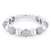 0.39ct Round Brilliant Cut Diamond Stackable Fashion Ring in 14k White Gold - AM-R1031W