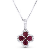 0.89 ct Pear-Shape Ruby & Round Cut Diamond Flower Pendant in 18k White Gold w/ 14k Chain - AM-DN4711