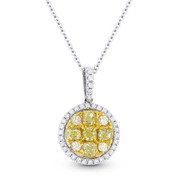 1.01 ct Yellow & White Diamond Cluster Pendant in 18k Yellow & White Gold w/ 14k Chain Necklace - AM-DN4723