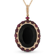 15.70 ct Onyx, Ruby, & Diamond Pendant & Rolo Chain Necklace in 14k Rose & Black Gold - AM-DN4626