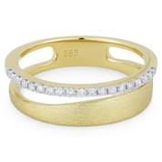 0.16ct Round Cut Diamond Right-Hand Fashion Ring in 14k Yellow & White Gold - AM-R1052Y
