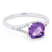 1.37ct Cushion Cut Purple Amethyst & Round Cut Diamond Splitshank Ring in 14k White Gold - AM-R13983AM