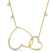 0.29 ct Round Cut Diamond Double-Heart Pendant & Chain Necklace in 14k Yellow Gold - AM-DN4886