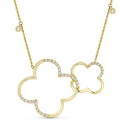 0.34 ct Round Cut Diamond Double-Clover Pendant & Chain Necklace in 14k Yellow Gold - AM-DN4891