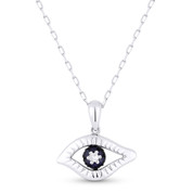 0.15ct Diamond & Sapphire Evil Eye Charm Pendant & Chain in 14k White & Black Gold - AM-DN4744